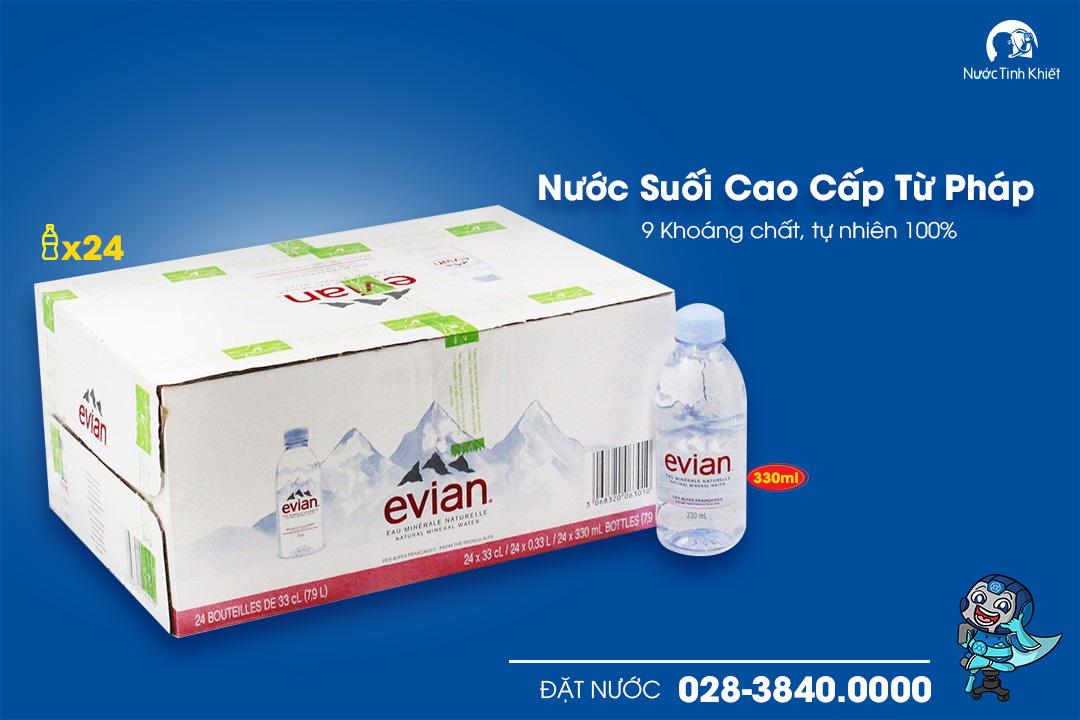 Nước khoáng Evian 330ml thùng đóng chai