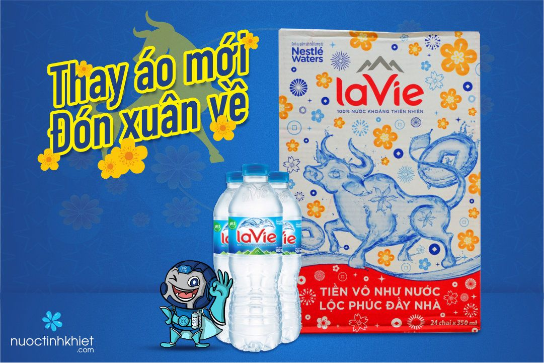 Nhãn hiệu mới của thùng nước Lavie 350ml