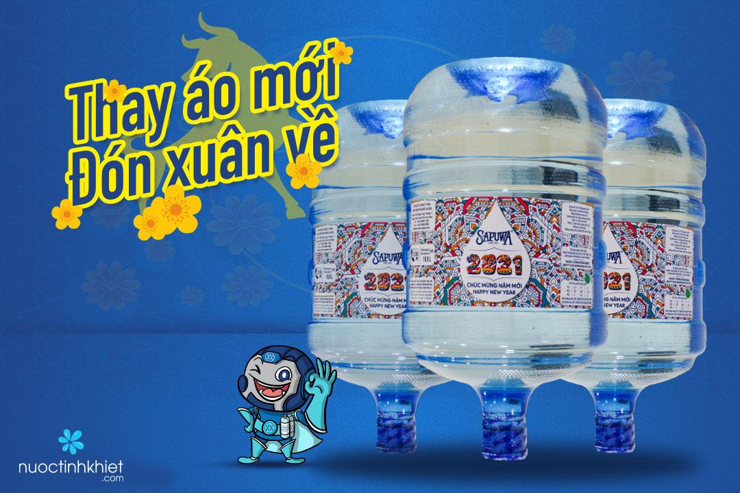 Nhãn hiệu tết của bình nước Sapuwa 19L