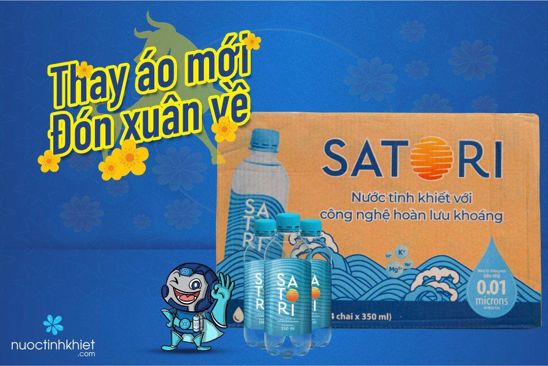 Nhãn hiệu mới của thùng nước tinh khiết Satori 350ml
