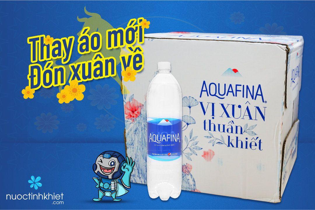 Nhãn hiệu mới của thùng nước tinh khiết Aquafina 1.5L